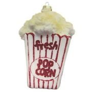 Christmas By Krebs Movie Time Box Of Buttered Popcorn Glass Holiday Ornament