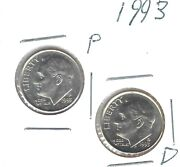 1993-p + D Uncirculated Roosevelt Dimes Both Business Types