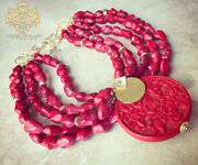 Red Cinnabar Pendant Turquoise Howlite Chunky Statement Necklace Brushed Gold Xl