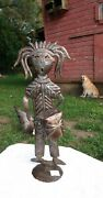 Signed, Haitian Metal Oil Drum Art, Drummer Sculpture. One-of-a-kind Home Decor.