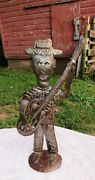 Signed, Haitian Metal Oil Drum Art, String Musician Sculpture. One-of-a-kind