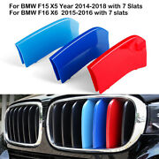 7 Bars Kidney Grill Grille 3 Color Strip Clips For Bmw X5 F15 14-18 X6 F16 15-16