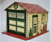 Vintage Lithographed Tin Garage - Made In Japan - Sale Is Only Garage No Cars