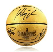 Kevin Durant Stephen Curry Klay Thompson Signed Gold Warriors Basketball Bas Coa