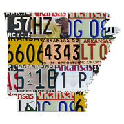Arkansas License Plate Map Cut Sign, Land Of Opportunity State License Map Sign