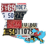 Louisiana License Plate Map Cut Sign, Sportsman's Paradise State License Plates