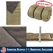 2 Persons Fleece Lined Double Sleeping Bag 20f Rectangular Camp Hunt Siliconized