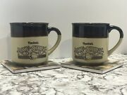 2 Vtg 1989 Hardees Rise And Shine Homemade Biscuits Coffee Cup Mug Retro Brown