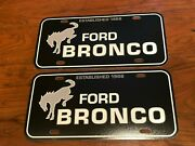 Ford Bronco Established In 1966 Black With White Lettering Promo License Plates