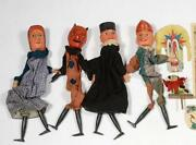 Antique Victorian Carved Wooden Set Of Punch And Judy Theatre Play Puppets + Dog