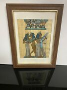 Framed Egyptian Papyrus Painting Signed 3 Musicians Dendarah Temple 1556 Sherif
