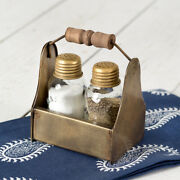 New Primitive Farmhouse French Country Antique Brass Salt And Pepper Set Holder