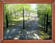 Driveway Gate 11' Or 12' Wide Hd, Steel Yard Home Security Wrought Iron