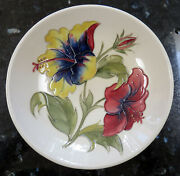 Walter Moorcroft Pottery Hibiscus Bold Yellow Red Blue Bowl 7.25 On Ivory C1962