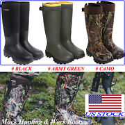 Hisea Menand039s Hunting Work Boots Waterproof And Insulated Rubber Neoprene Rain Boots