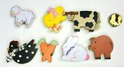 Vintage Wood Button Covers Adorable Farm Animals, Pig, Sheep, Chicken, Cow Na
