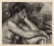 Exquisite Pierre Renoir Limited 1919 Engraving Daydreaming Signed Framed Coa