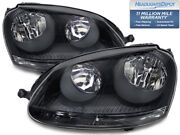 Headlights Set Halogen Black Pair Fits 05-2010 Vw Volkswagen Jetta / 06-09 Gti
