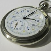 Vintage Plymouth Pocket Watch Hand Painted Porcelain Dial Early 1900and039s