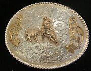 Sterling Silver And Gold Western Belt Buckle - Great Condition