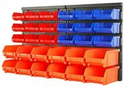 Wall Mounted Storage Bins Parts Rack 30 Bin Organizer Garage Plastic Shop Tool
