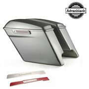 Brilliant Silver 4.5 Stretched Extended Saddlebags Normal Lids Fit 2014+ Harley