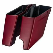 2-1 Hard Candy Hot Rod Red Flake Stretched Saddlebag For Harley Touring 2014+