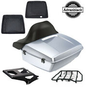 King Tour Pack Pad Baracuda Silver Black Hinges And Latch Fit 97+ Harley Touring