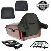 King Tour Pack Pak Pad Trunk Stiletto Red Black Hinges And Latch For 1997+ Harley