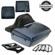 Midnight Blue King Tour Pack Pad Luggage Black Hinges And Latch For Harley 97-20