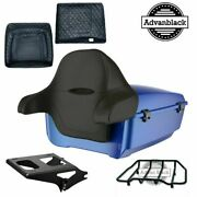 Blue Max Rushmore King Tour Pack Black Hinges And Latch For Harley Touring 97-20
