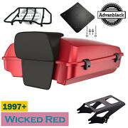 Advanblack Wicked Red Razor Tour Pack Trunk Luggage Fits Harley Touring 1997+