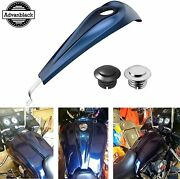 Big Blue Pearl Low-profile Tank Dash Console And Fuel Gas Tank Cap For 08+ Harley