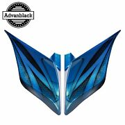 Daytona Blue Airbrush Stretched Extended Side Cover For 2014+ Harley Touring