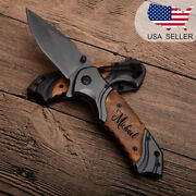 Browning Pocket Hunting Knife Tactical Personalized Gift For Men Wood Handle