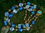 Vintage Murano Venetian Vivid Glass Beads 2 Rows Necklace Fancy Clasp