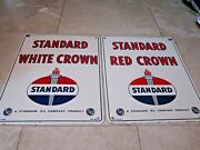 1954 Standard Oil Red Crown And Standard Oil White Crown Porcelain Gas Pump Signs