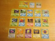 1999 Pokemon Fossil Unlimited Tcg Lot Of 32 Trading Cards W/4 Rares 9 Uncommons