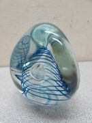Vintage Signed Eikholt Art Glass Paperweight Dichroic Onionskin