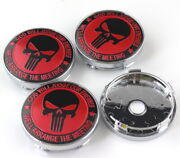 4pcs 60mm Fiat Abarth Punisher Red Badge Emblem Alloy Wheel Caps Hub Rim Caps
