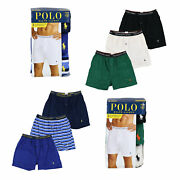 Polo Mens Underwear Classic Fit 3 Piece Boxers Pony Logo New Prl