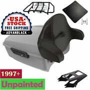 Unpainted King Tour Pack Pad Trunk Black Hinges And Latch For 1997+ Harley