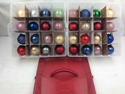 Vintage Christmas By Krebs Mixed Color Set Lot Of 32 Bulbs And Storing Case