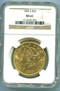 1883-s 20 Liberty Double Eagle Ngc Ms61 Better Date San Francisco