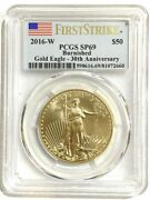 2016-w 50 Burnished Gold Eagle 30th Anniversary First Strike Pcgs Sp69