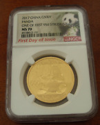 China 2017 Gold 30 Gr Panda 500 Yuan Ngc Ms70 First Day Of Issue