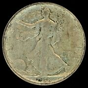 1918-d Walking Liberty Silver Half Dollar Toned Extra Fine/almost Uncirculated