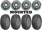 Kit 4 Ams M1 Evil Tires 26x9-12/26x11-12 On Itp Delta Steel Silver 12mm Ter