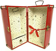 Vintage 1950s Red Metal 12 Doll Clothes Wardrobe Trunk Carrying Case W/ Stars