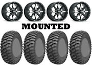 Kit 4 Ams M1 Evil Tires 30x10-14 On Itp Cyclone Matte Black Wheels Can